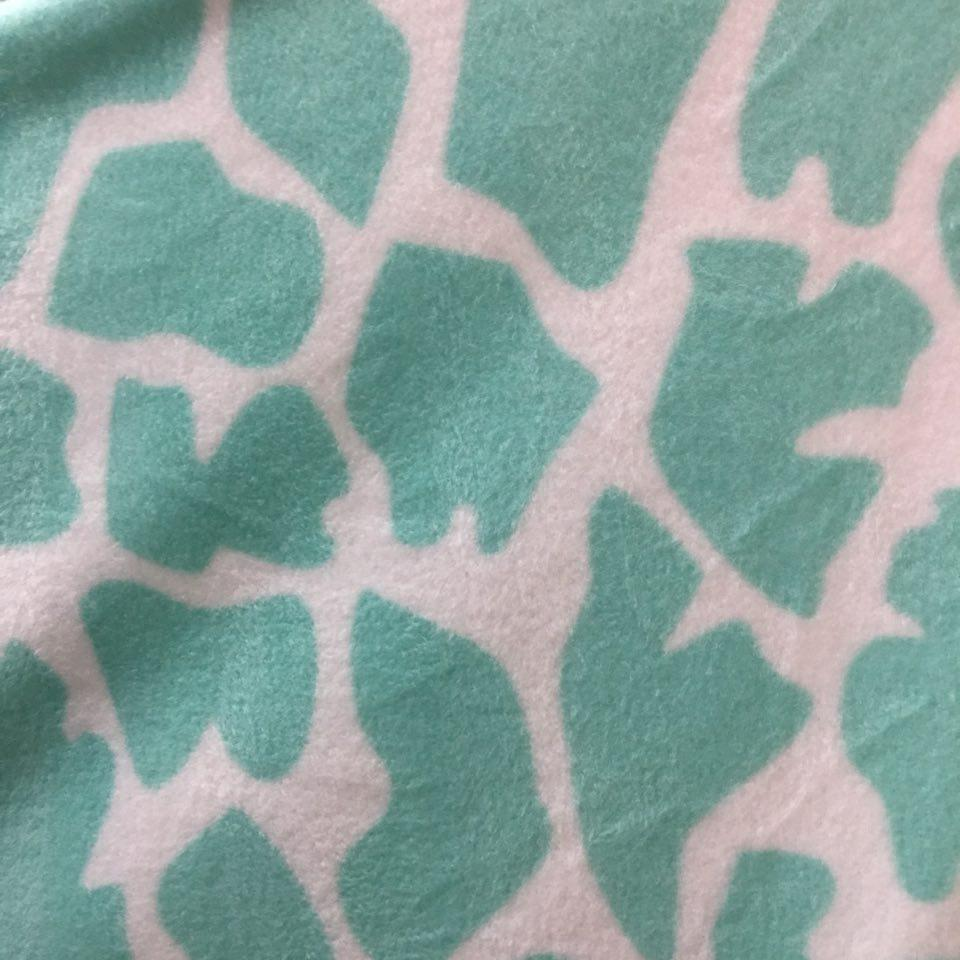 White Turquoise Giraffe Animal Print Fleece Fabric
