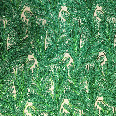 Green Floral Metallic Sequin Lace