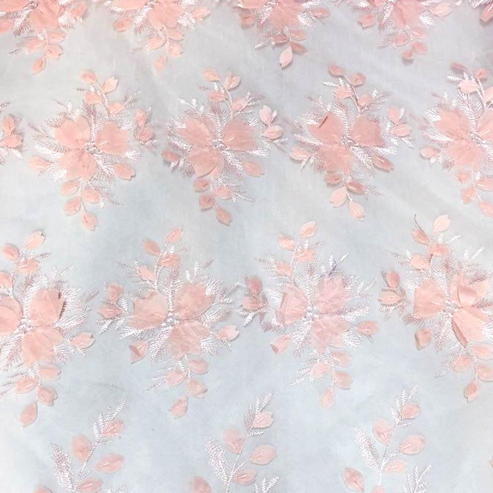 Peach 3D Floral Lace Fabric