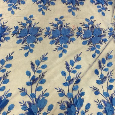 Royal Blue 3D Floral Lace Fabric