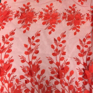 Red 3D Floral Lace Fabric