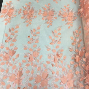 Orange 3D Floral Lace Fabric
