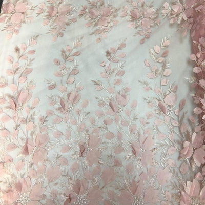Coral 3D Floral Lace Fabric