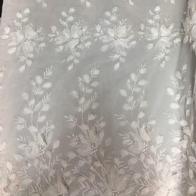 White 3D Floral Lace Fabric