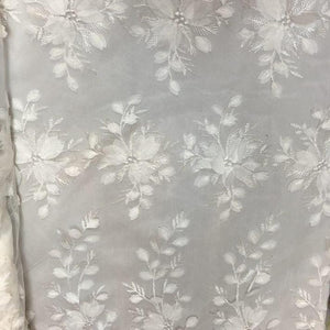 off White 3D Floral Lace Fabric