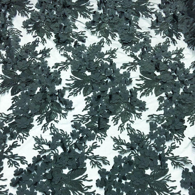Black 3D Flower lace Fabric