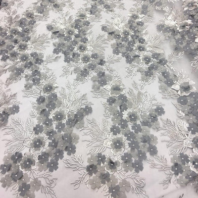 Gray Silver 3D Flower lace Fabric