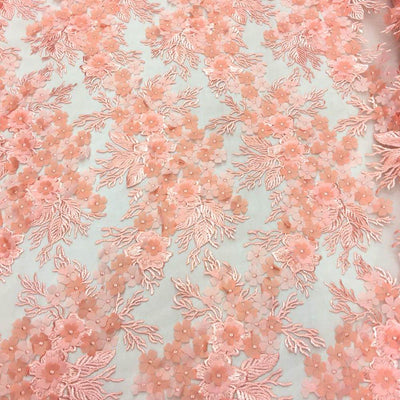 Orange 3D Flower lace Fabric