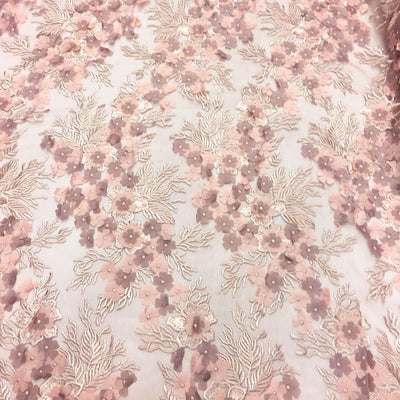 Dusty Rose Coral 3D Flower lace Fabric