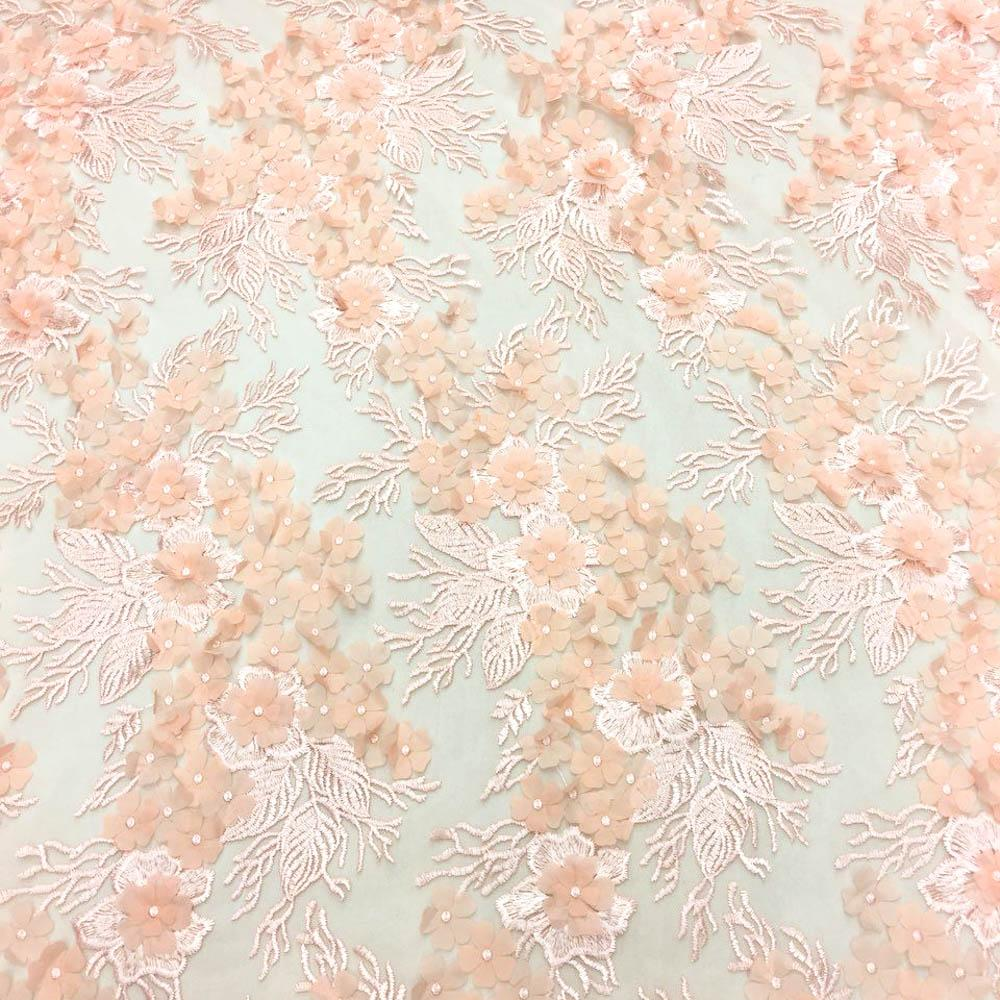 Peach 3D Flower lace Fabric