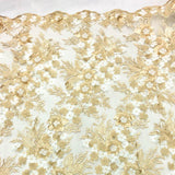 Gold Blue 3D Floral Lace Fabric