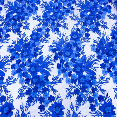 Royal Blue 3D Flower lace Fabric