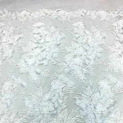 White 3D Flower lace Fabric
