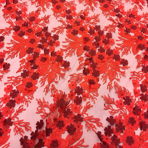 Red 3D Flower lace Fabric
