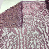 Dusty Rose Vanity Flare Sheer Lace Dress Fabric