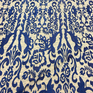 Royal Blue Vanity Flare Sheer Lace Dress Fabric
