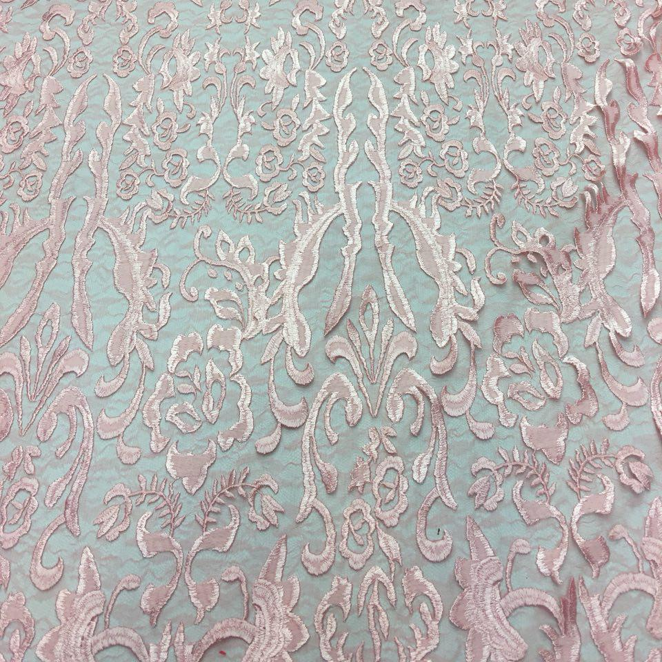 Blush Vanity Flare Sheer Lace Dress Fabric