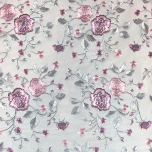 Lilac Flower and Blossom pattern Lace