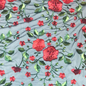 Red Flower and Blossom pattern Lace