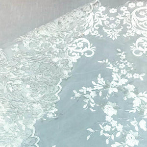 White Motif Lace Fabric