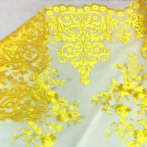 Yellow Motif Lace Fabric