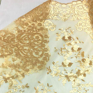 Gold Motif Lace Fabric