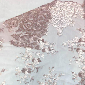 Dusty Rose Motif Lace Fabric
