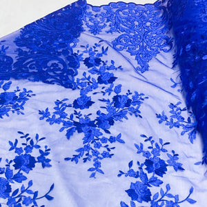 Royal Blue Motif Lace Fabric