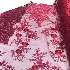 Burgundy Motif Lace Fabric