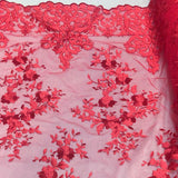 Red Motif Lace Fabric