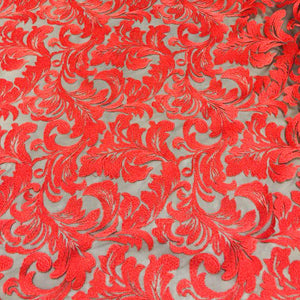 Red Damask Pattern Lace Fabric