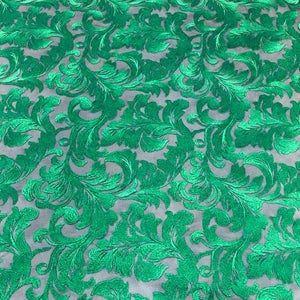 Green Damask Pattern Lace Fabric
