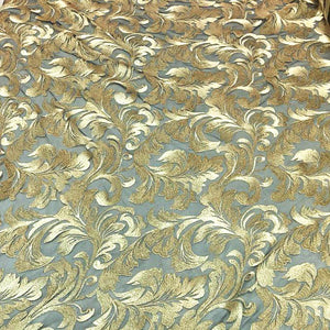 Gold Damask Pattern Lace Fabric