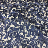 Navy Blue Damask Pattern Lace Fabric