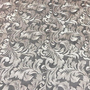 Gray Damask Pattern Lace Fabric
