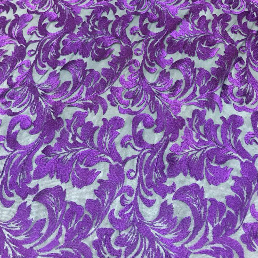 Purple Damask Pattern Lace Fabric