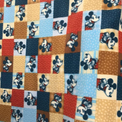 Mickey Mouse on Colored Checkered Anti Pill Fleece Fabric