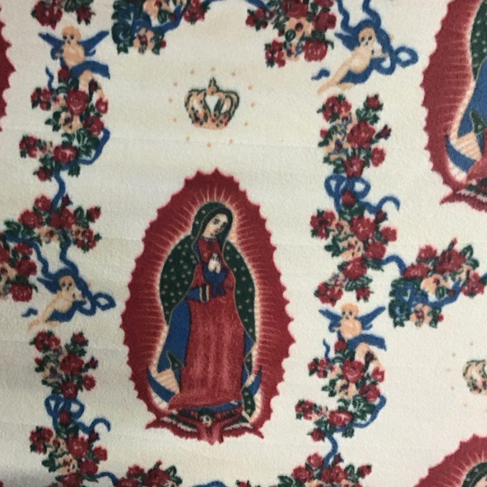 Virgin Mary Print Anti Pill Fleece Fabric