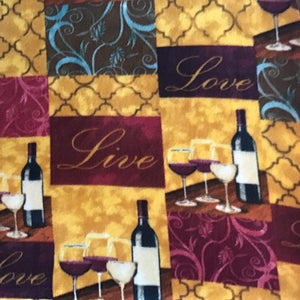 Wine Live Love Anti Pill Fleece Fabric