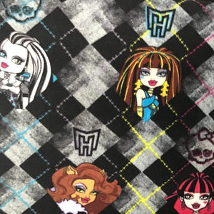 Monster High on Black White Checkered Anti Pill Fleece Fabric
