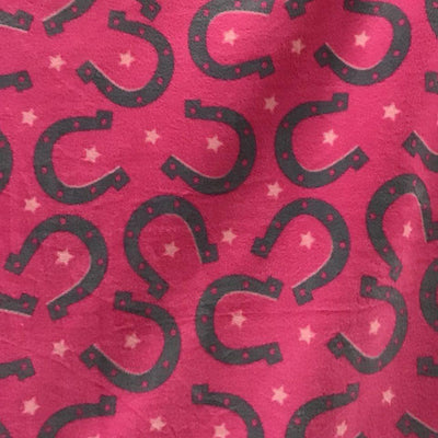 Horseshoe on Pink Fleece Fabric Prints