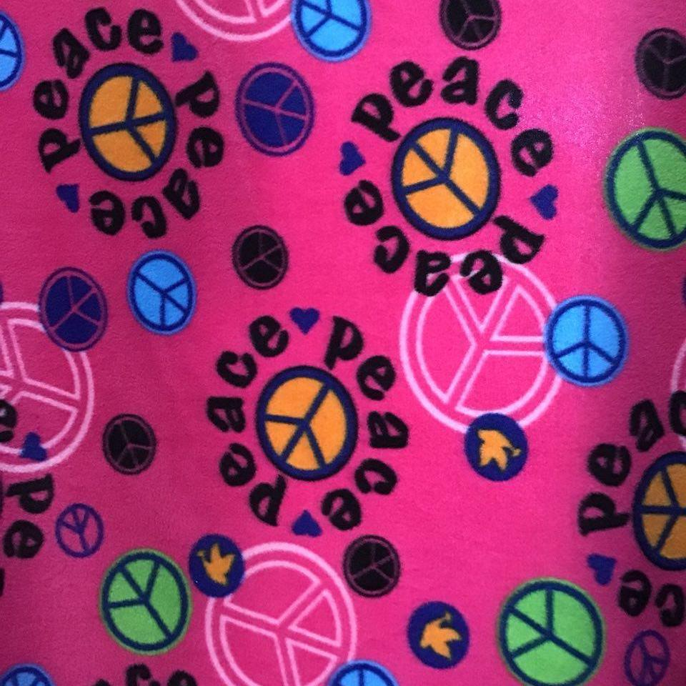 Peace Sign on Pink Anti Pill Fleece Fabric