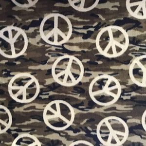 Peace Sign on Camouflage Background Anti Pill Fleece Fabric