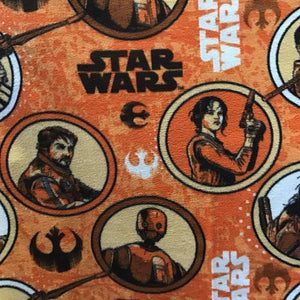 Star Wars Circle on Orange Anti Pill Fleece Fabric