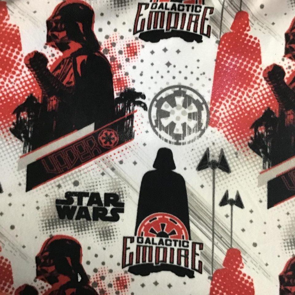 Vader Star Wars Empire on White Anti Pill Fleece Fabric