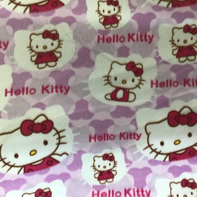 Hello Kitty on Violet Anti Pill Fleece Fabric