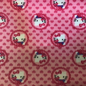 Hello Kitty Heads and Heart on Pink Anti Pill Fleece Fabric