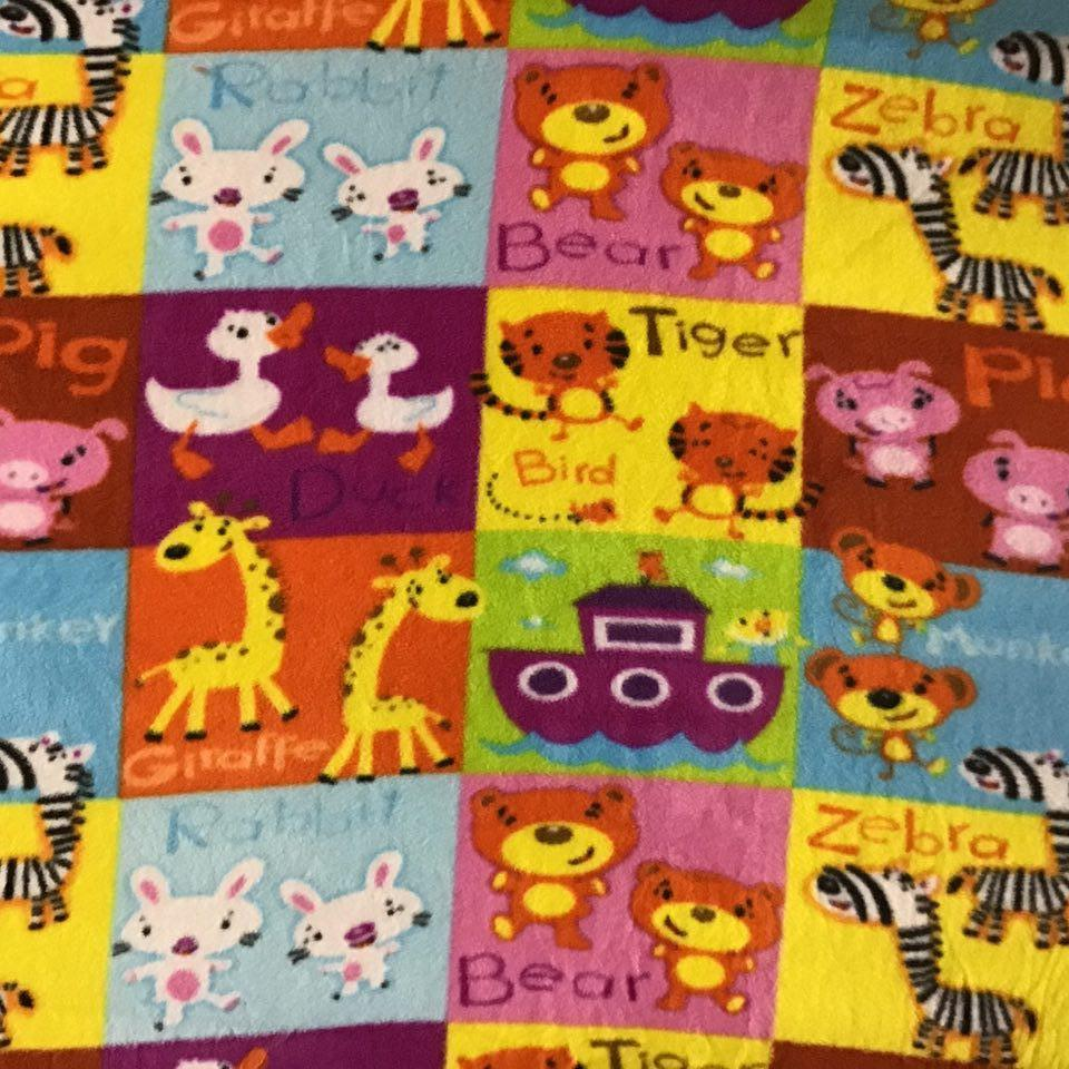 Random Animals Panel Anti Pill Animal Theme Fleece Fabric