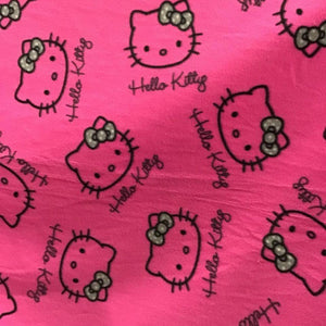 Hello Kitty Heads on Pink Anti Pill Fleece Fabric