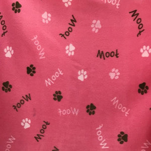 Woof Paw on Pink Fleece Fabric Prints